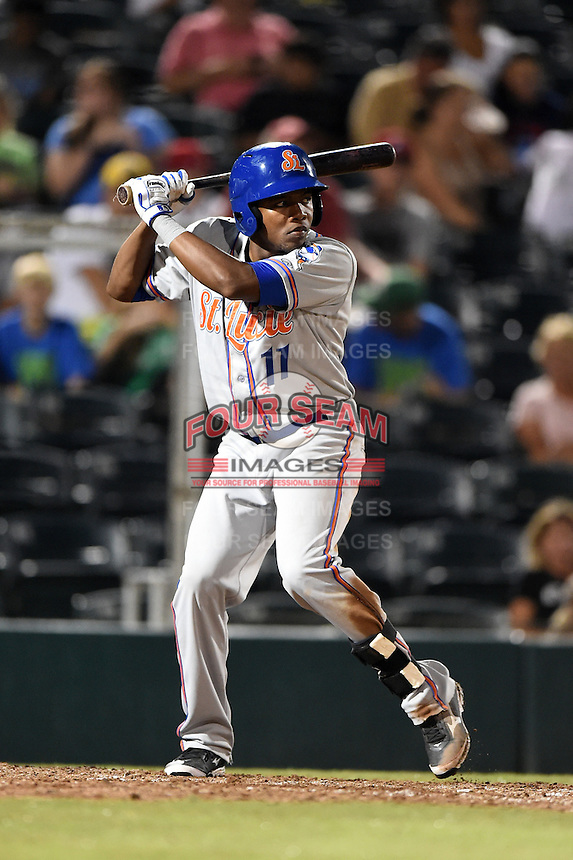 St. Lucie Mets outfielder Maikis De La Cruz (11) during a game against the Fort Myers Miracle on April 18, 2014 at Hammond Stadium in Fort Myers, Florida.  St. Lucie defeated Fort Myers 15-9.  (Mike Janes/Four Seam Images)