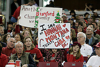 15 December 2007: Stanford Cardinal fans during Stanford's 25-30, 26-30, 30-23, 30-19, 8-15 loss against the Penn State Nittany Lions in the 2007 NCAA Division I Women's Volleyball Final Four championship match at ARCO Arena in Sacramento, CA.