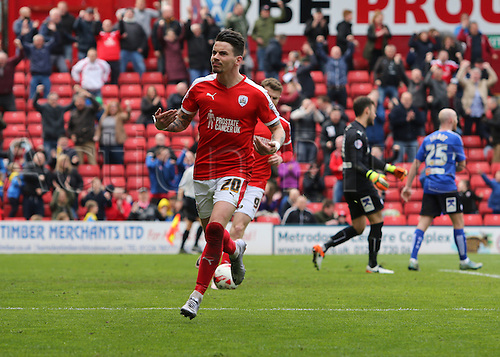 09.04.2016. Oakwell, Barnsley, England. Skybet League One. Barnsley versus Chesterfield. Barnsley's Adam Hammill celebrates his goal for 1-1