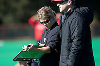 STANFORD, CA - November 4, 2011: Head Coach Tara Danielson and Assistant Coach Steve Danielson during the Stanford vs. Davidson in the second round of  the  NorPac Championship at the Varsity Turf on the Stanford campus Friday afternoon.<br /> <br /> Stanford defeated Davidson 7-2.