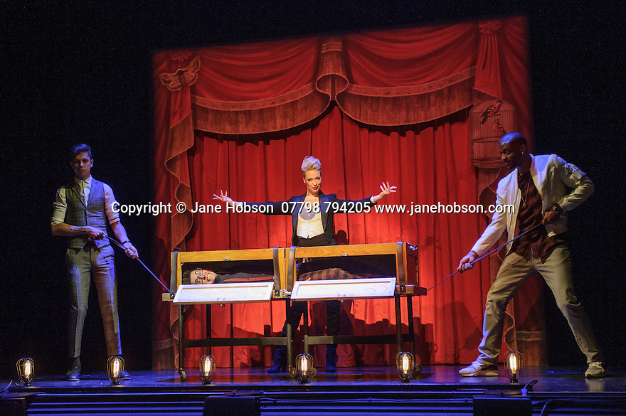 London, UK. 12.07.2016. Jamie Hendry and Gavin Kalin Productions present IMPOSSIBLE, at the Noel Coward Theatre. Following its West End season last year, the magic show returns to London this summer, running from Friday 8th July to Saturday 27th August. Opening night is Wednesday 13th July. The magicians are: Magical Bones, Jonathan Goodwin, Sabine van Diemen, Lance Corporal Richard Jones (winner of Britain's Got Talent 2016), Josephine Lee, Ben Hart, Chris Cox. Picture shows:  Ben Hart, Sabine van Diemen, Magical Bones, Chris Cox (in box). Photograph © Jane Hobson.