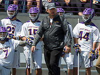 Albany coach Scott Marr shouts encouragement one of his players as UAlbany Lacrosse defeats Vermont 14-4  in the American East Conference Championship game at Casey Stadium, May 5.