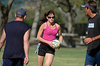 "Saturday, 01/17/09:  San Diego, California, USA:  Ruth Oram charges forward during a game of touch rugby at Torrey Highlands Park in Del Mar.  An informal group of players meet every Saturday morning at 11am for games.  The sport of Touch Rugby is a fast paced, exciting version of the full contact game that is gaining popularity in San Diego.  As the name suggests, the ""touch"" version of it is not a full contact game but more like flag football.  Pick-up games can be found most Saturdays in the Del Mar Park and on Sundays at the beach in Del Mar or Mission Beach."