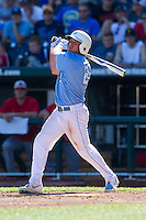 North Carolina Tar Heels outfielder Chaz Frank #2 bats during Game 3 of the 2013 Men's College World Series between the North Carolina State Wolfpack and North Carolina Tar Heels at TD Ameritrade Park on June 16, 2013 in Omaha, Nebraska. The Wolfpack defeated the Tar Heels 8-1. (Brace Hemmelgarn/Four Seam Images)