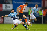 Blackpool's Jack Payne vies for possession with Luton Town's Danny Hylton<br /> <br /> Photographer Craig Mercer/CameraSport<br /> <br /> The EFL Sky Bet League Two Play-Off Semi Final Second Leg - Luton Town v Blackpool - Thursday 18th May 2017 - Kenilworth Road - Luton<br /> <br /> World Copyright &copy; 2017 CameraSport. All rights reserved. 43 Linden Ave. Countesthorpe. Leicester. England. LE8 5PG - Tel: +44 (0) 116 277 4147 - admin@camerasport.com - www.camerasport.com