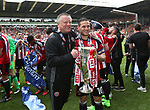 Sheffield United's Chris Wilder and Billy Sharp celebrate with the trophy during the League One match at Bramall Lane, Sheffield. Picture date: April 30th, 2017. Pic David Klein/Sportimage