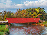 Madison County, IA: Hogback covered bridge (1884) on North River in early fall