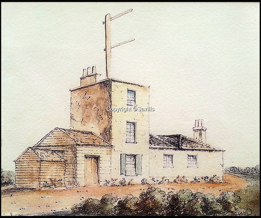 BNPS.co.uk (01202 558833)<br /> Pic: Savills/BNPS<br /> <br /> Semaphore house in 1826.<br /> <br /> A historic house that played an important role in quickly warning Britain's Royal Navy of threats of French invasion in the days before phones and internet is up for sale.<br /> <br /> The Grade II listed Semaphore House in Guildford, Surrey, was built in 1821 as part of a vital military signalling system that enabled the Admiralty to communicate with the main channel ports in a matter of seconds rather than relying on galloping messengers on horseback.<br /> <br /> Now a five-bedroom home with 360-degree views from its pretty tower room, the landmark house is on the market with Savills with a guide price of £2.75million.