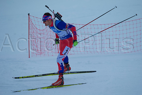 05.03.2016. Oslo Holmenkollen, Oslo, Norway. IBU Biathlon World Championships. Emir Hrkalovic of Serbia competes in the men 10km sprint competition during the IBU World Championships Biathlon in Holmenkollen Oslo, Norway.