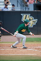 Siena Saints pinch hitter Carson Dunkel (3) bats during a game against the UCF Knights on February 17, 2019 at John Euliano Park in Orlando, Florida.  UCF defeated Siena 7-1.  (Mike Janes/Four Seam Images)
