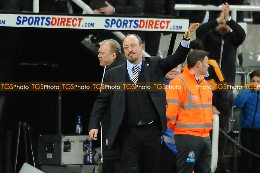 Newcastle United manager Rafa Benítez waves at fans after the final whistle during Newcastle United vs Derby County, Sky Bet EFL Championship Football at St. James' Park on 4th February 2017
