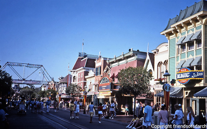 Disneyland, Main Street. Designed and built by Walt Disney. Opened in 1955.<br /> Photo, April 1987.