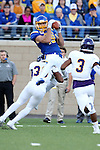 BROOKINGS, SD - SEPTEMBER 24:  Jake Wieneke #19 from South Dakota State University hauls in a pass over Justin Fitzpatrick #30 from Western Illinois in the first half of their game Saturday evening at Dana J. Dykhouse Stadium in Brookings. (Photo by Dave Eggen/Inertia)