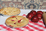 Apple and cherry pies freshly baked