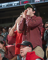 NWA Democrat-Gazette/ANTHONY REYES @NWATONYR<br /> Arkansas fans boo the referees against Mississippi State in the second half Tuesday, Jan. 10, 2017 at Bud Walton Arena in Fayetteville. The Razorbacks lost 84-78.