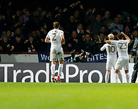 EzgjanAlioski of Leeds United celebrates making it 1-1 during the Sky Bet Championship match between Brentford and Leeds United at Griffin Park, London, England on 4 November 2017. Photo by Carlton Myrie.