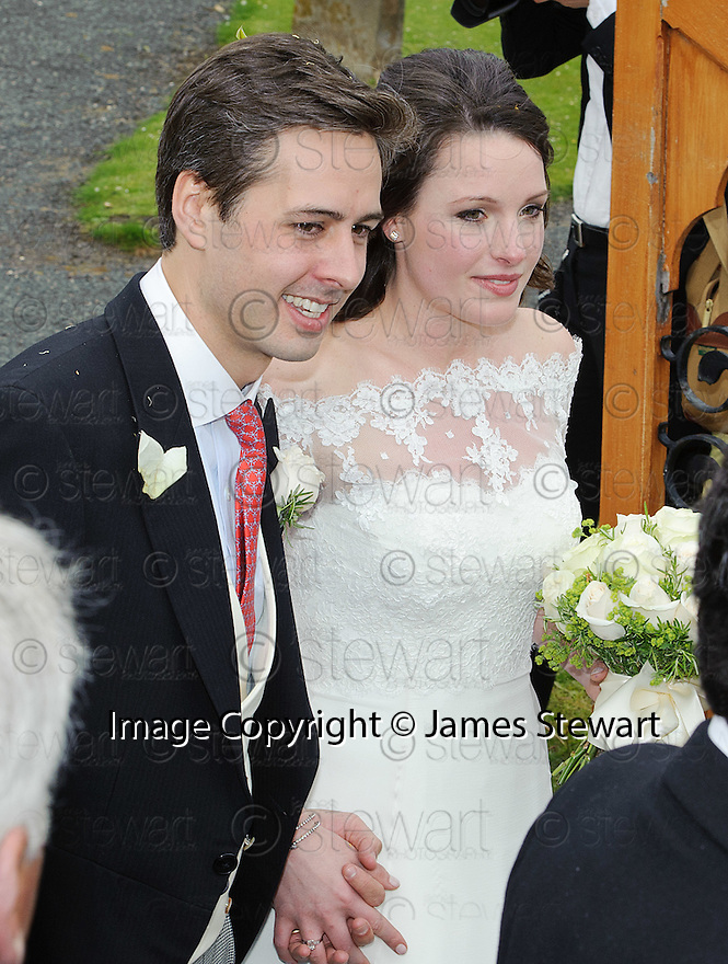 Camilla Hook and new husband Sam Holland, grandson of Lord Attenborough, get a guard of honour as they leave Aberlady Church  .......