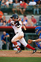 Florida Fire Frogs second baseman Alay Lago (15) follows through on a swing in front of St. Lucie Mets catcher Patrick Mazeika (11) during a game against the St. Lucie Mets on July 23, 2017 at Osceola County Stadium in Kissimmee, Florida.  St. Lucie defeated Florida 3-2.  (Mike Janes/Four Seam Images)