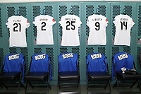 Cary, North Carolina  - Saturday June 03, 2017: Kits of Caroline Flynn, Shea Groom, Brittany Ratcliffe, Lo'eau Labonta, and Sydney Leroux in the FCKC locker room prior to a regular season National Women's Soccer League (NWSL) match between the North Carolina Courage and the FC Kansas City at Sahlen's Stadium at WakeMed Soccer Park. The Courage won the game 2-0.