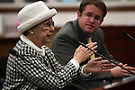 Lobbyist Carole Vilardo testifies at the Legislature, in Carson City, Nev., on Wednesday, March 23, 2011.  Lobbyist Tray Abney is at right..Photo by Cathleen Allison