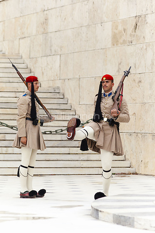 Greek soldiers, Evzones, outside the Parliament building, Athens, Greece <br /> CAP/MEL<br /> &copy;MEL/Capital Pictures /MediaPunch ***NORTH AND SOUTH AMERICA ONLY***