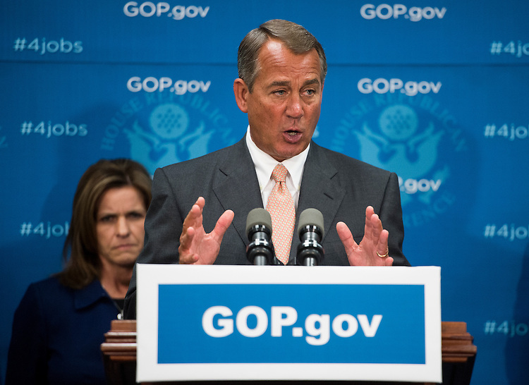 UNITED STATES - MAY 15: Speaker of the House John Boehner, R-Ohio, speaks during the House GOP leadership media availability following the House Republican Conference meeting in the basement of the Capitol on Wednesday, May 15, 2013. (Photo By Bill Clark/CQ Roll Call)