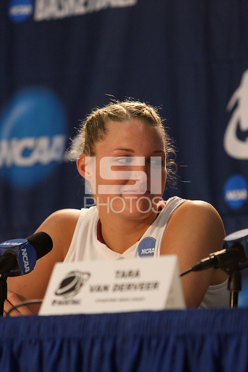 BERKELEY, CA - MARCH 30: Jayne Appel in the post-game press conference following Stanford's 74-53 win against the Iowa State Cyclones on March 30, 2009 at Haas Pavilion in Berkeley, California.
