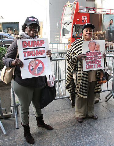 NEW YORK, NY - OCTOBER 26: Anti-Trump protesters in front of Trump Tower  in New York, New York on October 26, 2016.  Photo Credit: Rainmaker Photo/MediaPunch
