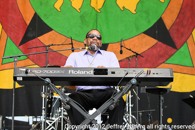 NEW ORLEANS, LA - MAY 03: Musician Henry Butler performs during the 2012 New Orleans Jazz & Heritage Festival at the Fair Grounds Race Course on May 3, 2012 in New Orleans, Louisiana.