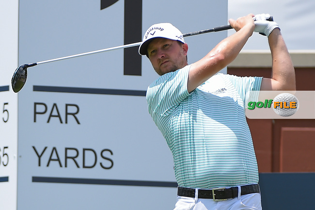 Brice Garnett (USA) watches his tee shot on 1 during round 1 of the 2019 Charles Schwab Challenge, Colonial Country Club, Ft. Worth, Texas,  USA. 5/23/2019.<br /> Picture: Golffile   Ken Murray<br /> <br /> All photo usage must carry mandatory copyright credit (© Golffile   Ken Murray)