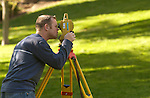 A BYU civil engineering student practices his surveying..10/14/04..Photo by Steve Walters/BYU