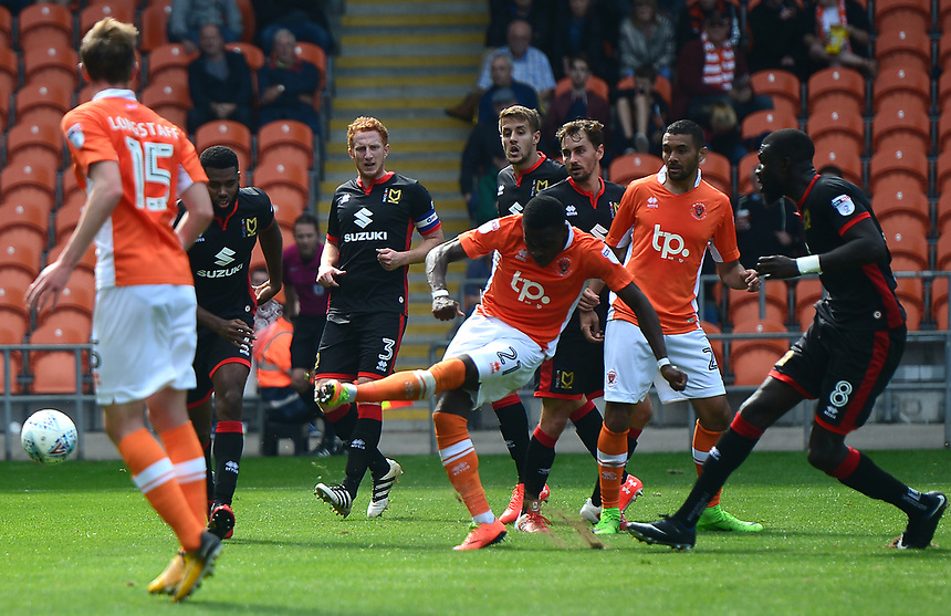 Blackpool's Bright Osayi-Samuel shoots at goal<br /> <br /> Photographer Richard Martin-Roberts/CameraSport<br /> <br /> The EFL Sky Bet League One - Blackpool v Milton Keynes Dons - Saturday August 12th 2017 - Bloomfield Road - Blackpool<br /> <br /> World Copyright &copy; 2017 CameraSport. All rights reserved. 43 Linden Ave. Countesthorpe. Leicester. England. LE8 5PG - Tel: +44 (0) 116 277 4147 - admin@camerasport.com - www.camerasport.com