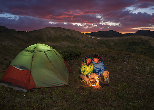 Couple backpacking and camping above treeline, Rocky Mountains, Colorado.