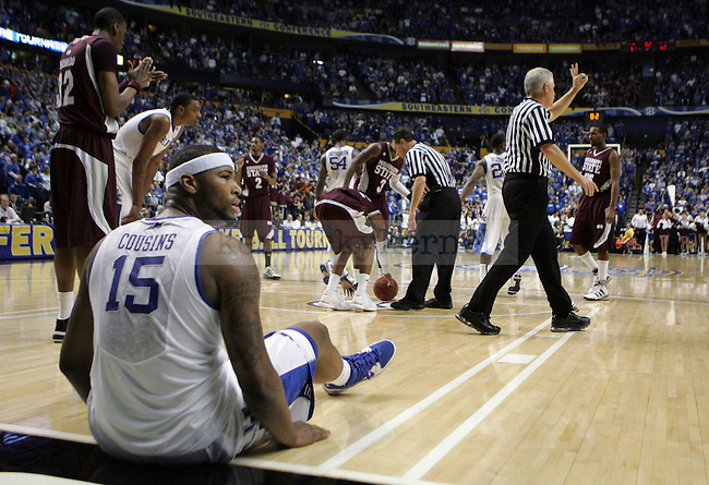 DeMarcus Cousins makes a face at the referee in the second half of UK's win 75-74 over Mississippi State  Bridgestone Arena in the SEC Finals on Sunday, March 14, 2010. Photo by Britney McIntosh | Staff