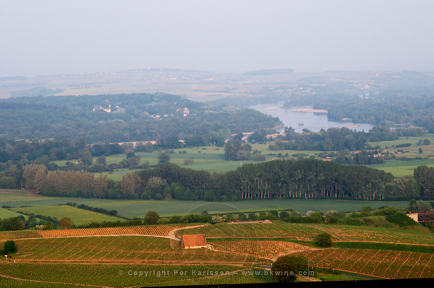 Vineyards, view of landscape from town. Sancerre village, Loire, France