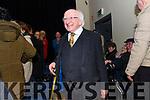 Uachtaran na hÉireann Micheal D. Ó hUigínn entering Halla na Feothanaí for the Ceolchoirm 'Mórtas Cine' during Scoil Cheoil an Earraigh on Friday night.