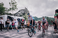 Ryan Mullen (IRL/Trek-Segafredo) & Zak Dempster (AUS/Israel Cycling Academy) up the final climb to Pratonevoso<br /> <br /> stage 18: Abbiategrasso - Pratonevoso (196km)<br /> 101th Giro d'Italia 2018