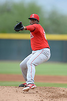 Los Angeles Angels of Anaheim pitcher Eduar Lopez (37) during an Instructional League game against the Arizona Diamondbacks on October 7, 2014 at Salt River Fields at Talking Stick in Scottsdale, Arizona.  (Mike Janes/Four Seam Images)