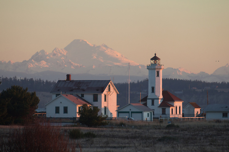 Point Wilson lighthouse, Mount Baker, Port Townsend, Puget Sound, Admiralty Inlet, Washington State, Pacific Northwest, USA,