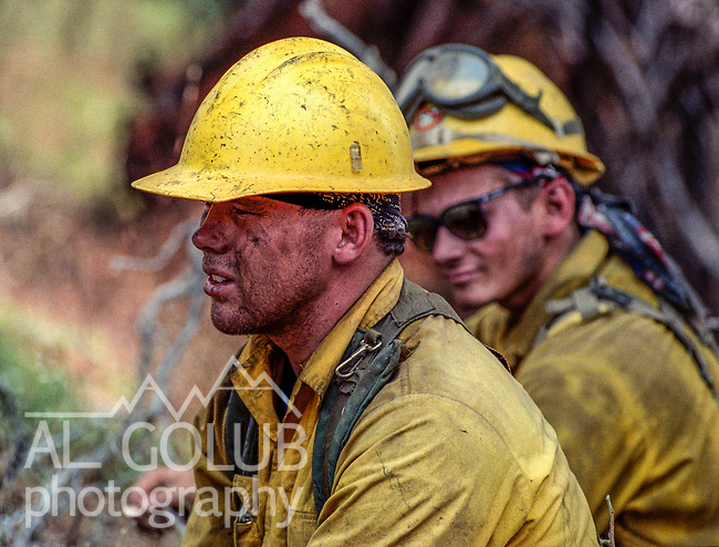 August 13, 1990 Yosemite National Park  --  A-Rock (Arch Rock) Fire  -- Firefighter Pat Laeng takes break during backburning operations on Trumbull Peak. The Arch Rock Fire burned over 16,000 acres of Yosemite National Park and the Stanislaus National Forest.  At the same time across the Merced River, the Steamboat Fire burned over 5,000 acres of both Yosemite National Park and the Sierra National Forest.