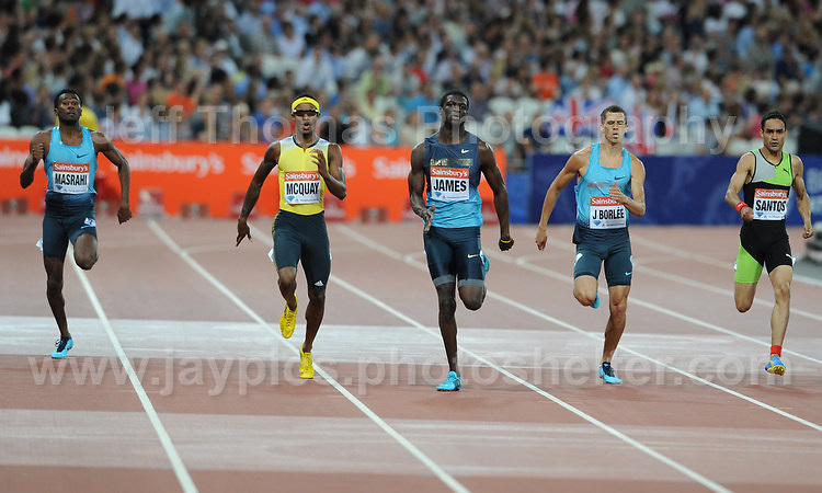 The Mens 400m race at the Sainsbury Anniversary Games, Olympic Stadium, London England, Friday 26th July 2013-Copyright owned by Jeff Thomas Photography-www.jaypics.photoshelter.com-07837 386244. No pictures must be copied or downloaded without the authorisation of the copyright owner.