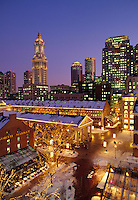 Faneuil Hall, Quincy Market, snow evening, Boston, MA with Customs House Tower