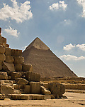 "Giza, Cairo, Egypt -- The ""second pyramid,"" the pyramid of Khafre, helps set the scene at the Great Pyramid of Khufu (Cheops) (in foreground). © Rick Collier / RickCollier.com."