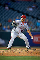 Syracuse Chiefs relief pitcher Josh Edgin (27) delivers a pitch during a game against the Buffalo Bisons on July 6, 2018 at Coca-Cola Field in Buffalo, New York.  Buffalo defeated Syracuse 6-4.  (Mike Janes/Four Seam Images)