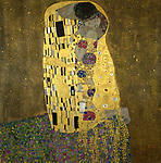 Klimt, Gustav 1862&ndash;1918.<br /> <br /> &ldquo;The Kiss&rdquo;, 1908.<br /> <br /> Oil on canvas, 180 &times; 180cm.<br /> Vienna, &Ouml;sterr. Galerie im Belvedere.