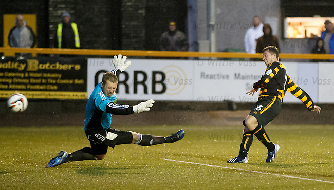 Alex Salmon scores the third goal for Alloa past Inverurie Locos keeper Andy Reid