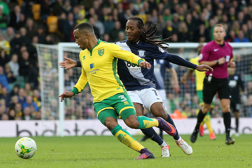Norwich City's Martin Olsson battles with Preston North End's Daniel Johnson<br /> <br /> Photographer David Shipman/CameraSport<br /> <br /> The EFL Sky Bet Championship - Norwich City v Preston North End - Saturday 22nd October 2016 - Carrow Road - Norwich<br /> <br /> World Copyright &copy; 2016 CameraSport. All rights reserved. 43 Linden Ave. Countesthorpe. Leicester. England. LE8 5PG - Tel: +44 (0) 116 277 4147 - admin@camerasport.com - www.camerasport.com