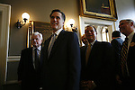 Republican Governor Mitt Romney is joined by Sen. Ted Kennedy and numeous Mass. state politicians at Fanheuil Hall in Boston, Massechussetts. April 12, 2006..2006 © David BURNETT (CONTACT PRESS IMAGES)