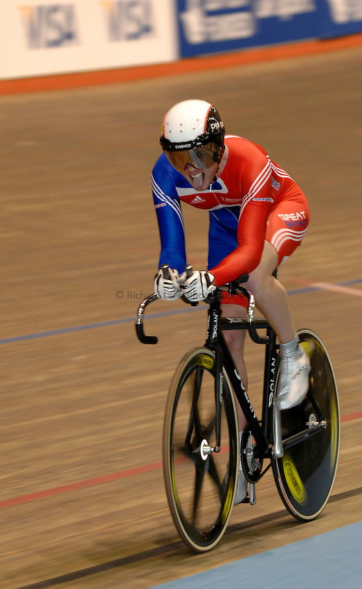 Photo: Richard Lane..VISA Paralympic World Cup 2007. Track Cycling. 11/05/2007. .Rik Waddon of Spain in the 1km Time Trial Final, male.