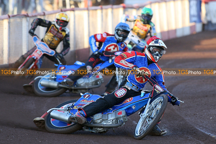 Heat 1: Jonsson (red), Lanham (blue), Allen (yellow), Harris  - Lakeside Hammers vs Coventry Bees - Sky Sports Elite League at Arena Essex, Purfleet- 30/07/08 - MANDATORY CREDIT: Gavin Ellis/TGSPHOTO - Self billing applies where appropriate - Tel: 0845 094 6026.